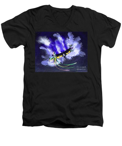 Men's V-Neck T-Shirt featuring the painting Mardi Gras On Purple by Alys Caviness-Gober