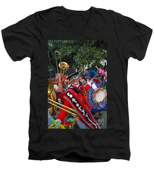 Men's V-Neck T-Shirt featuring the photograph Mardi Gras Storyville Marching Group by Luana K Perez