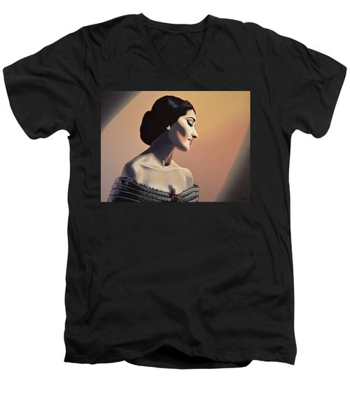 Maria Callas Painting Men's V-Neck T-Shirt