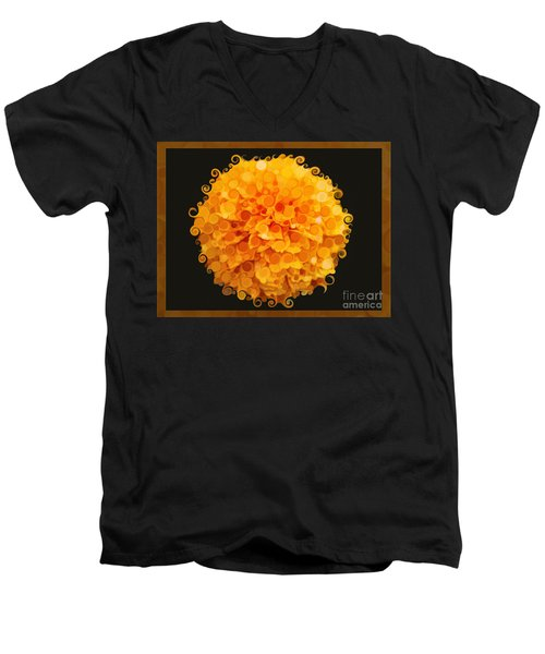 Marigold Magic Abstract Flower Art Men's V-Neck T-Shirt
