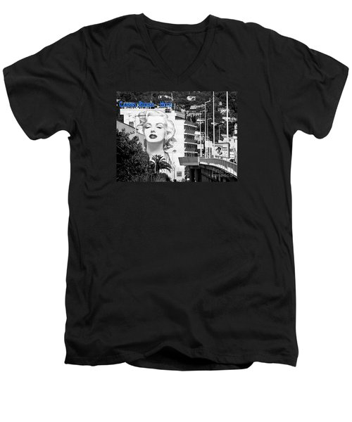 Men's V-Neck T-Shirt featuring the photograph Marilyn In Cannes by Jennie Breeze