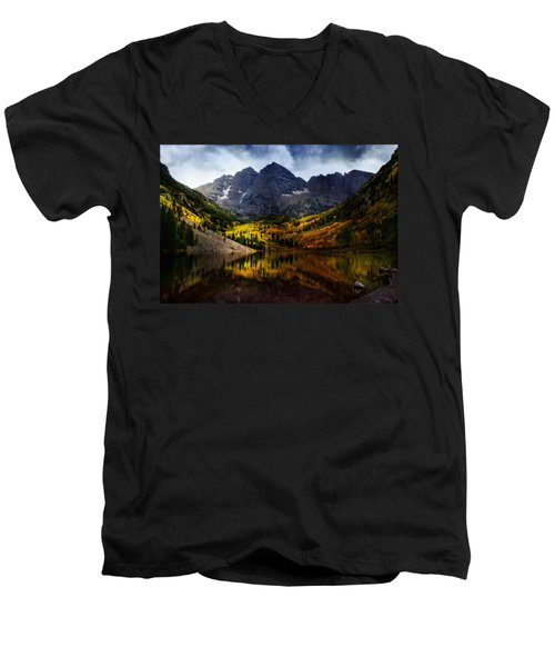Men's V-Neck T-Shirt featuring the photograph Maroon Bells - An American Icon by Ellen Heaverlo