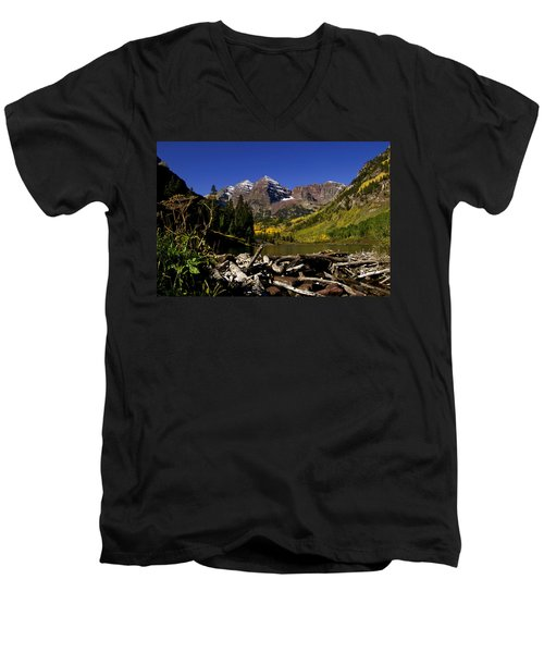 Men's V-Neck T-Shirt featuring the photograph Maroon Bells by Jeremy Rhoades