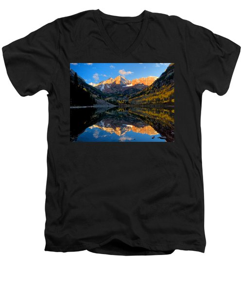 Maroon Bells Landscape Men's V-Neck T-Shirt by Ronda Kimbrow