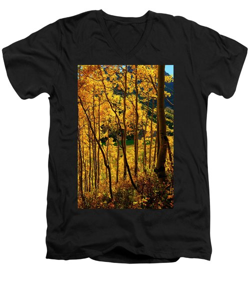 Maroon Lake Gold Men's V-Neck T-Shirt