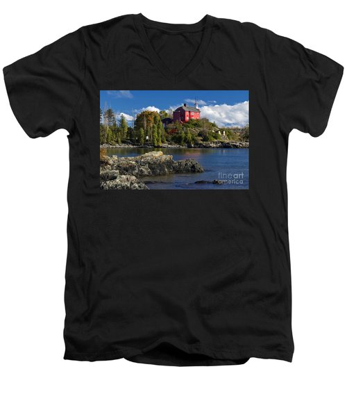 Marquette Harbor Light - D003224 Men's V-Neck T-Shirt