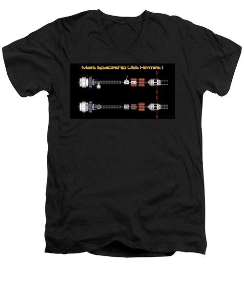 Mars Spaceship Hermes1 Men's V-Neck T-Shirt by David Robinson