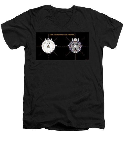 Mars Spaceship Hermes1 Front And Rear Men's V-Neck T-Shirt by David Robinson