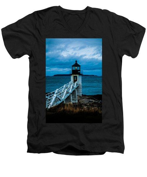 Marshall Point Light At Dusk 1 Men's V-Neck T-Shirt