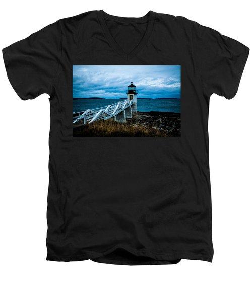 Marshall Point Light At Dusk 2 Men's V-Neck T-Shirt