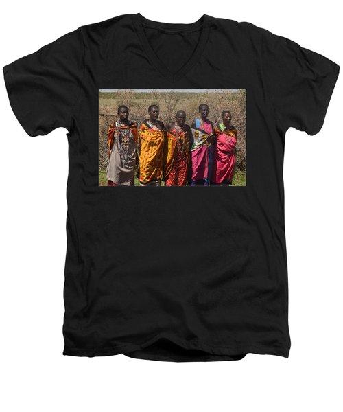 Men's V-Neck T-Shirt featuring the photograph Masai Women Chorus by Tom Wurl