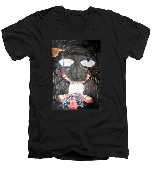 Men's V-Neck T-Shirt featuring the painting Masquera Carcaza  by Lazaro Hurtado