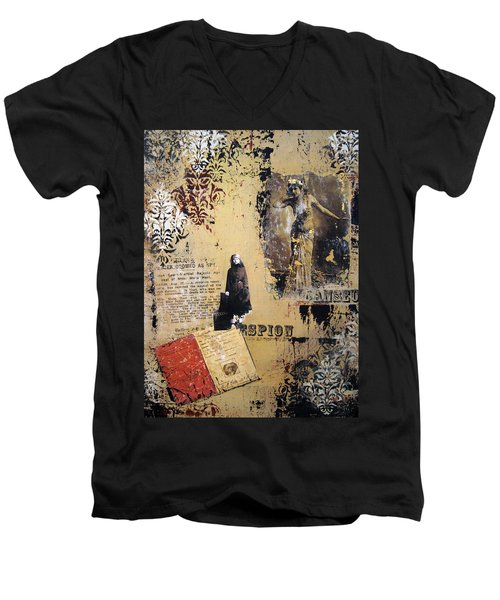 Men's V-Neck T-Shirt featuring the painting Mata Hari by Debra Crank