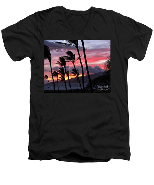Maui Sunset Men's V-Neck T-Shirt by Peggy Hughes