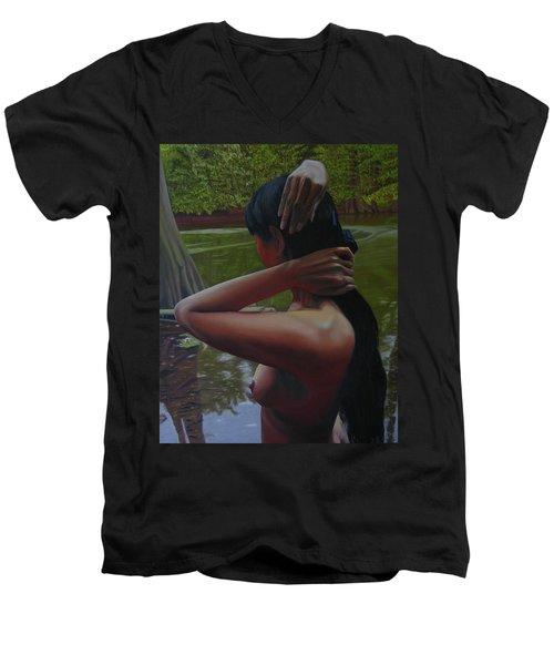 May Morning Arkansas River 6 Men's V-Neck T-Shirt
