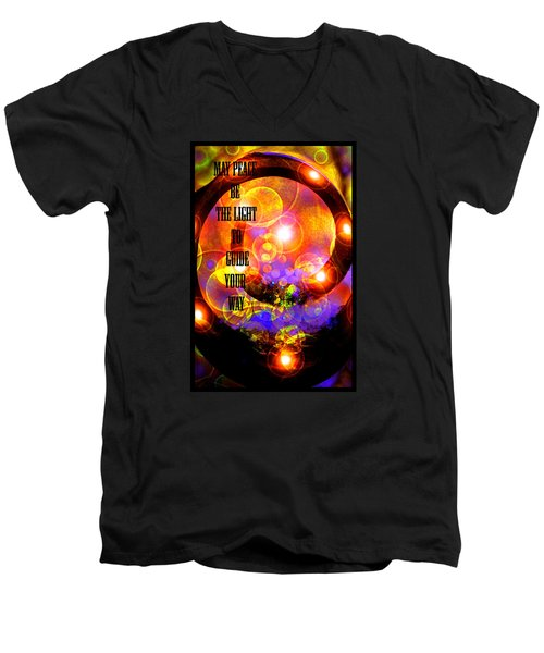Men's V-Neck T-Shirt featuring the photograph May Peace Be The Light To Guide Your Way by Susanne Still
