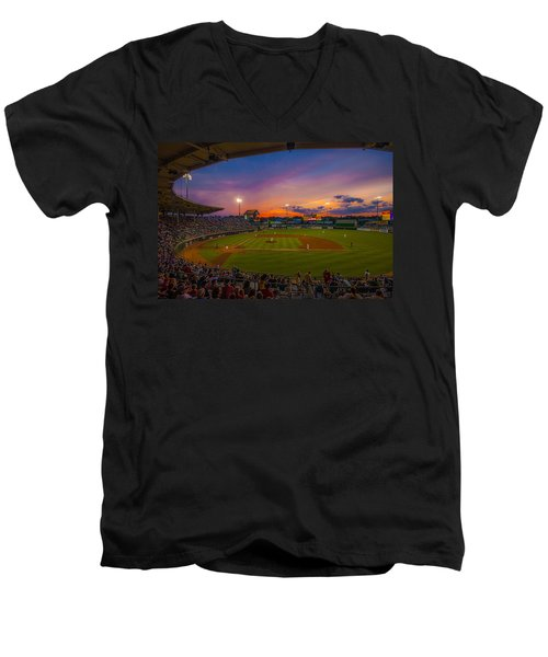 Mccoy Stadium Sunset Men's V-Neck T-Shirt by Tom Gort