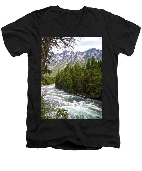 Mcdonald Creek In Glacier Np-mt Men's V-Neck T-Shirt