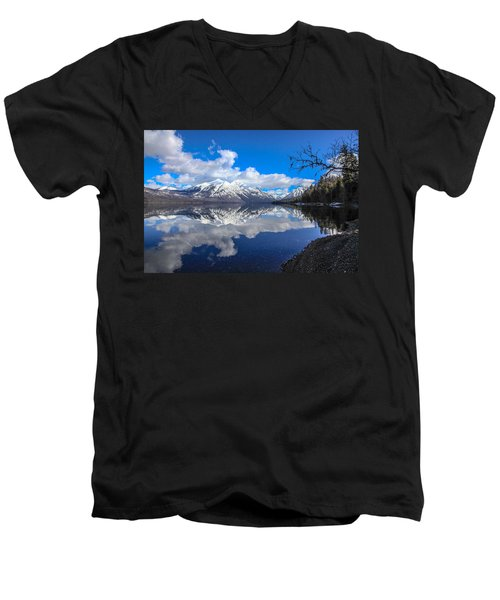 Mcdonald Reflecting Men's V-Neck T-Shirt by Aaron Aldrich