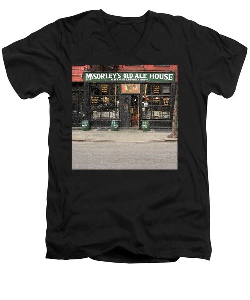 Mcsorley's Old Ale House During A Snow Storm Men's V-Neck T-Shirt