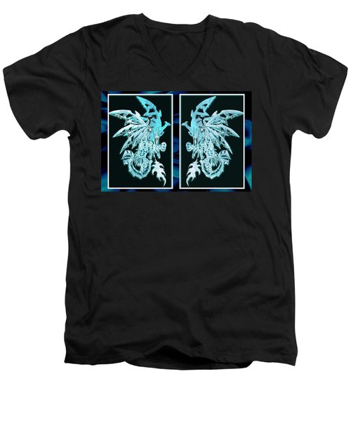 Men's V-Neck T-Shirt featuring the mixed media Mech Dragons Diamond Ice Crystals by Shawn Dall