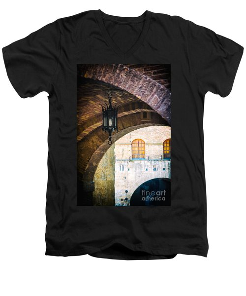 Men's V-Neck T-Shirt featuring the photograph Medieval Arches With Lamp by Silvia Ganora