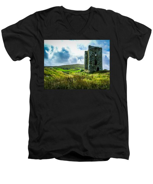 Medieval Dunmanus Castle On Ireland's Mizen Peninsula Men's V-Neck T-Shirt