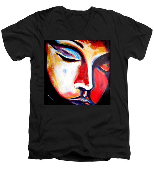 Men's V-Neck T-Shirt featuring the painting Meditation by Helena Wierzbicki