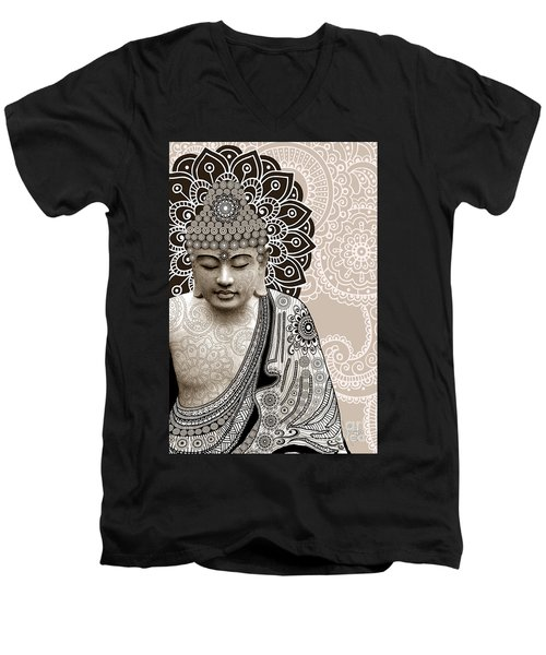 Meditation Mehndi - Paisley Buddha Artwork - Copyrighted Men's V-Neck T-Shirt