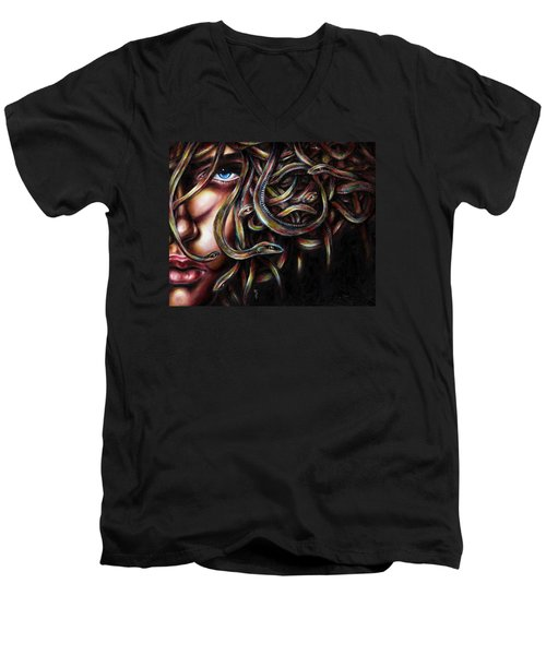 Men's V-Neck T-Shirt featuring the painting Medusa No. Two by Hiroko Sakai