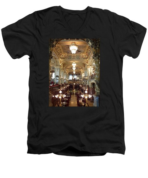 Meet Me For Coffee - New York Cafe - Budapest Men's V-Neck T-Shirt by Lucinda Walter