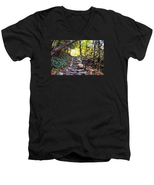 Men's V-Neck T-Shirt featuring the photograph Meigs Creek Trailhead by Paul Mashburn
