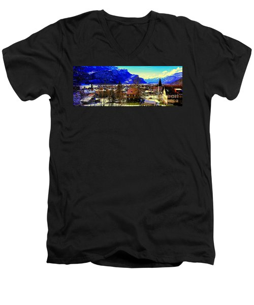 Meiringen Switzerland Alpine Village Men's V-Neck T-Shirt