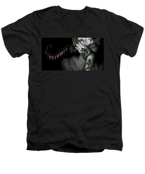 Men's V-Neck T-Shirt featuring the painting Melancholy by Pat Erickson