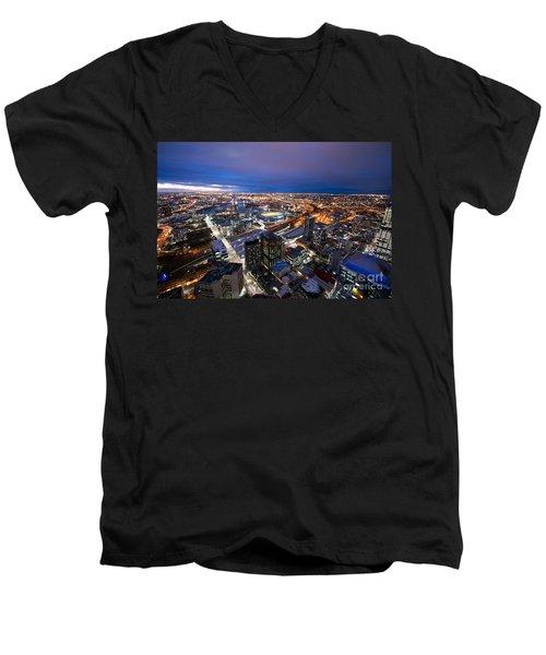 Melbourne At Night Men's V-Neck T-Shirt