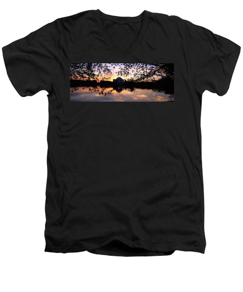 Memorial At The Waterfront, Jefferson Men's V-Neck T-Shirt by Panoramic Images