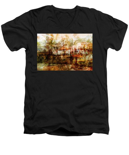 Men's V-Neck T-Shirt featuring the mixed media Memories #1 by Sandy MacGowan