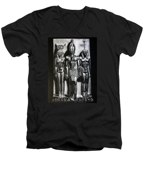 Men's V-Neck T-Shirt featuring the painting Menkaure Triad by Leena Pekkalainen