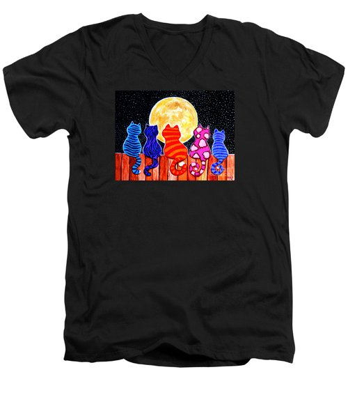 Meowing At Midnight Men's V-Neck T-Shirt by Nick Gustafson