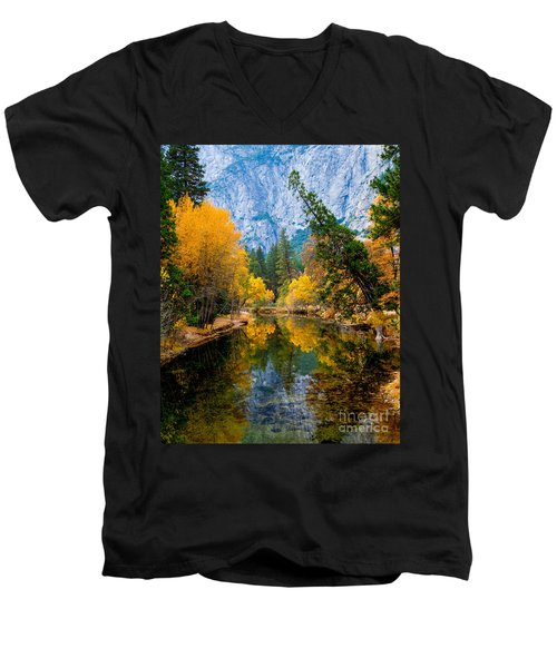 Merced River And Leaning Pine Men's V-Neck T-Shirt