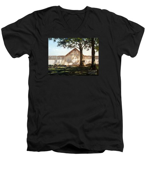 Men's V-Neck T-Shirt featuring the painting Merchants Hall by Lee Piper