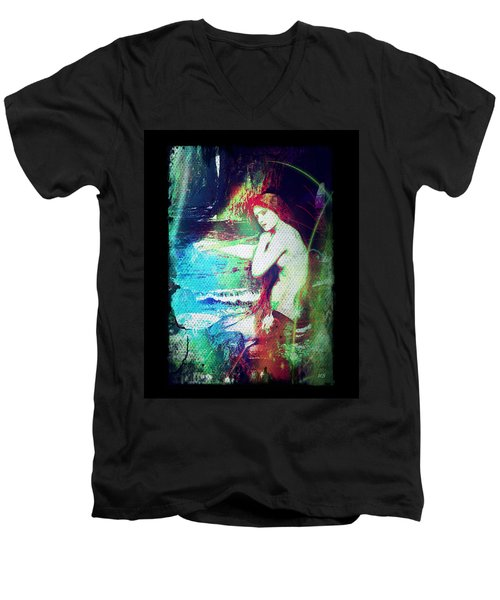 Mermaid Of The Tides Men's V-Neck T-Shirt by Absinthe Art By Michelle LeAnn Scott