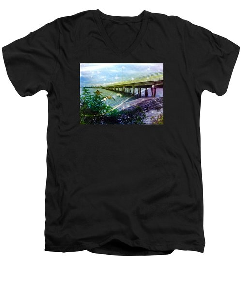 Men's V-Neck T-Shirt featuring the digital art Mermaids In Indian River by Megan Dirsa-DuBois