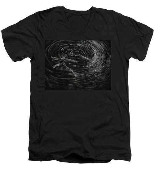 Men's V-Neck T-Shirt featuring the drawing Mesmerized by Sandra LaFaut