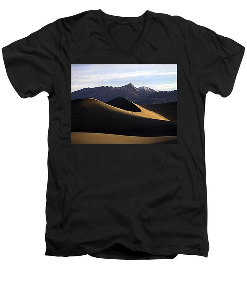Men's V-Neck T-Shirt featuring the photograph Mesquite Dunes At Dawn by Joe Schofield