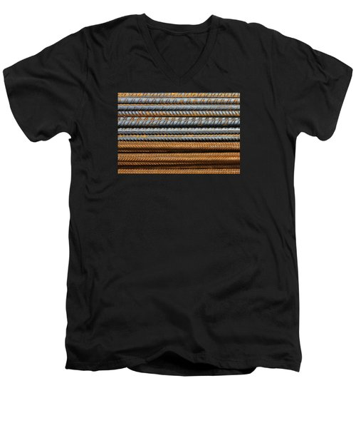Men's V-Neck T-Shirt featuring the photograph Metal Texture Pattern Of Rusty Rebars by Dreamland Media