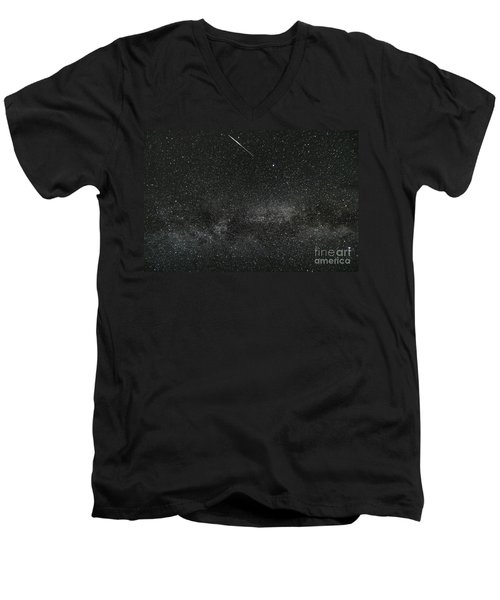 Meteor With The Milky Way Men's V-Neck T-Shirt