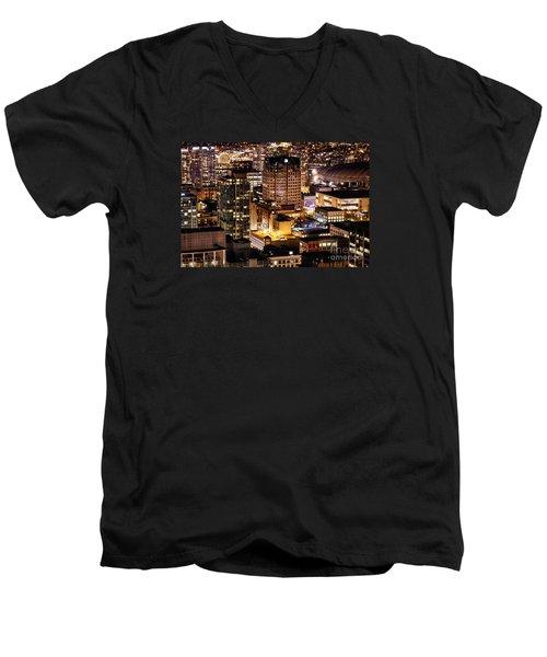 Men's V-Neck T-Shirt featuring the photograph Metropolis Vancouver Mdccxv  by Amyn Nasser