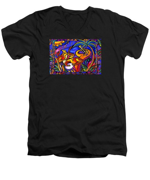 Latin Music Men's V-Neck T-Shirt by Leon Zernitsky