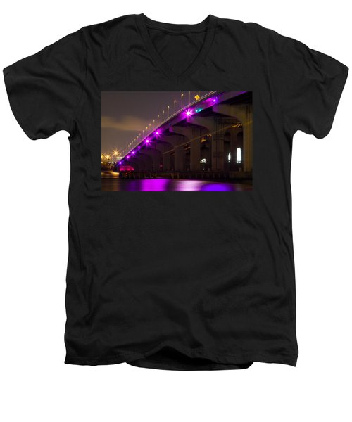 Miami Macarthur Causeway Bridge Men's V-Neck T-Shirt